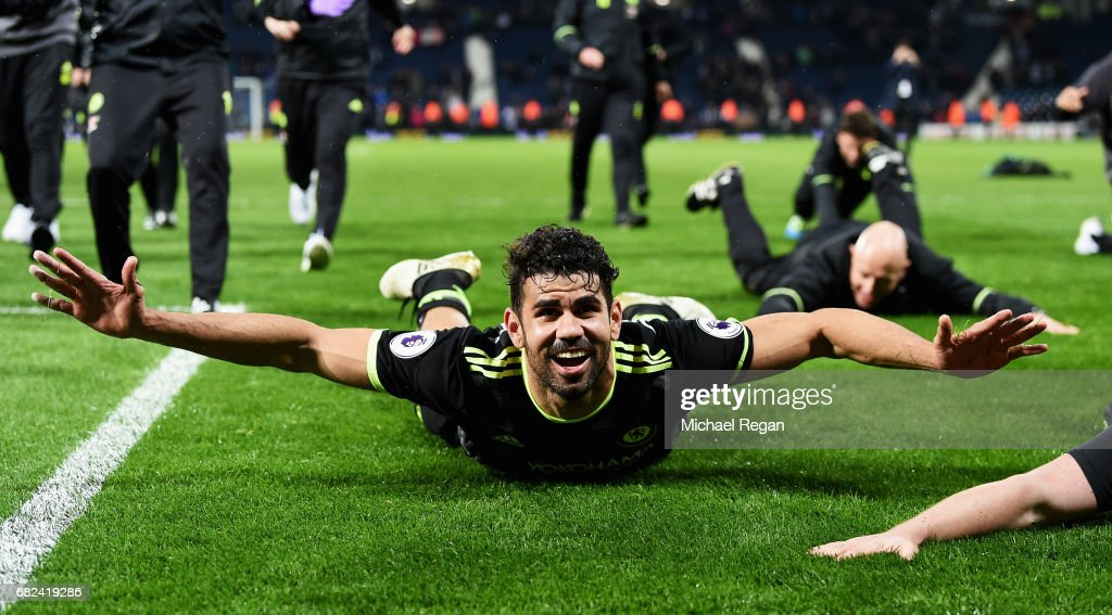 Diego Costa of Chelsea celebrates winning the leauge after the Premier League match between West Bromwich Albion and Chelsea at The Hawthorns on May 12, 2017 in West Bromwich, England. Chelsea are crowned champions after a 1-0 victory against West Bromwich Albion.