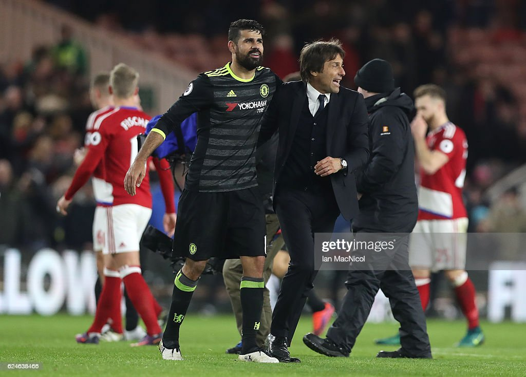 Diego Costa of Chelsea celebrates with Chelsea manager Antonio Conte during the Premier League match between Middlesbrough and Chelsea at Riverside Stadium on November 20, 2016 in Middlesbrough, England.