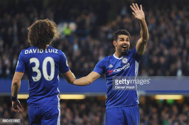 Diego Costa of Chelsea celebrates with fans after scoring his sides first goal during the Premier League match between Chelsea and Middlesbrough at...