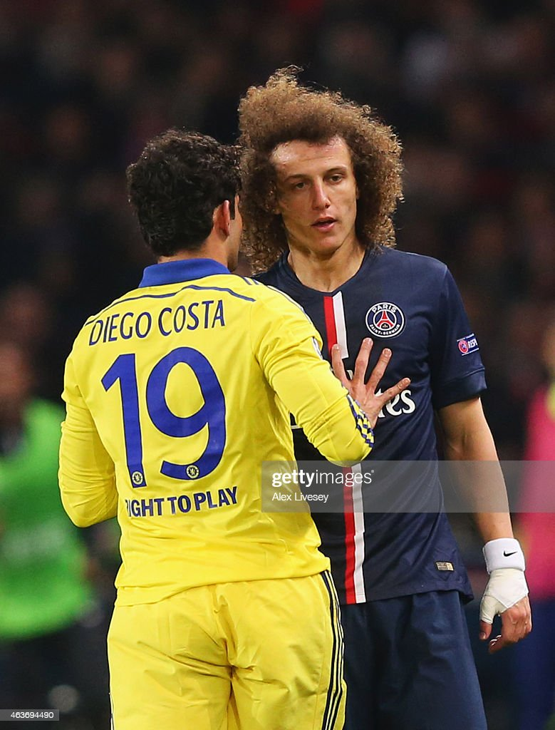 Diego Costa of Chelsea clashes with David Luiz of Paris Saint-Germain during the UEFA Champions League Round of 16 match between Paris Saint-Germain and Chelsea at Parc des Princes on February 17, 2015 in Paris, France.