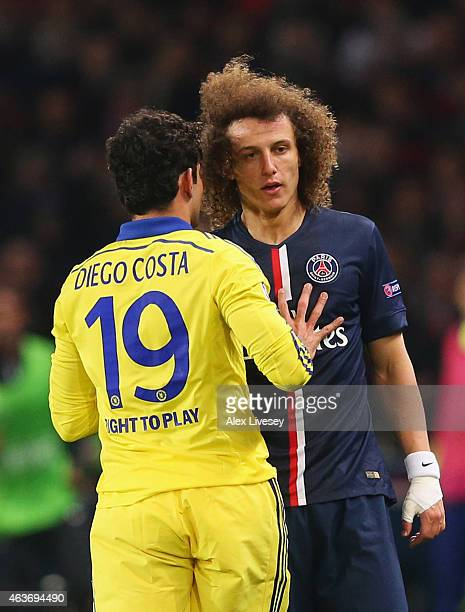 Diego Costa of Chelsea clashes with David Luiz of Paris SaintGermain during the UEFA Champions League Round of 16 match between Paris SaintGermain...