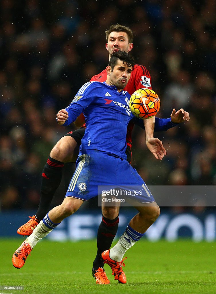 Diego Costa of Chelsea controls the ball during the Barclays Premier League match between Chelsea and West Bromwich Albion at Stamford Bridge on January 13, 2016 in London, England.