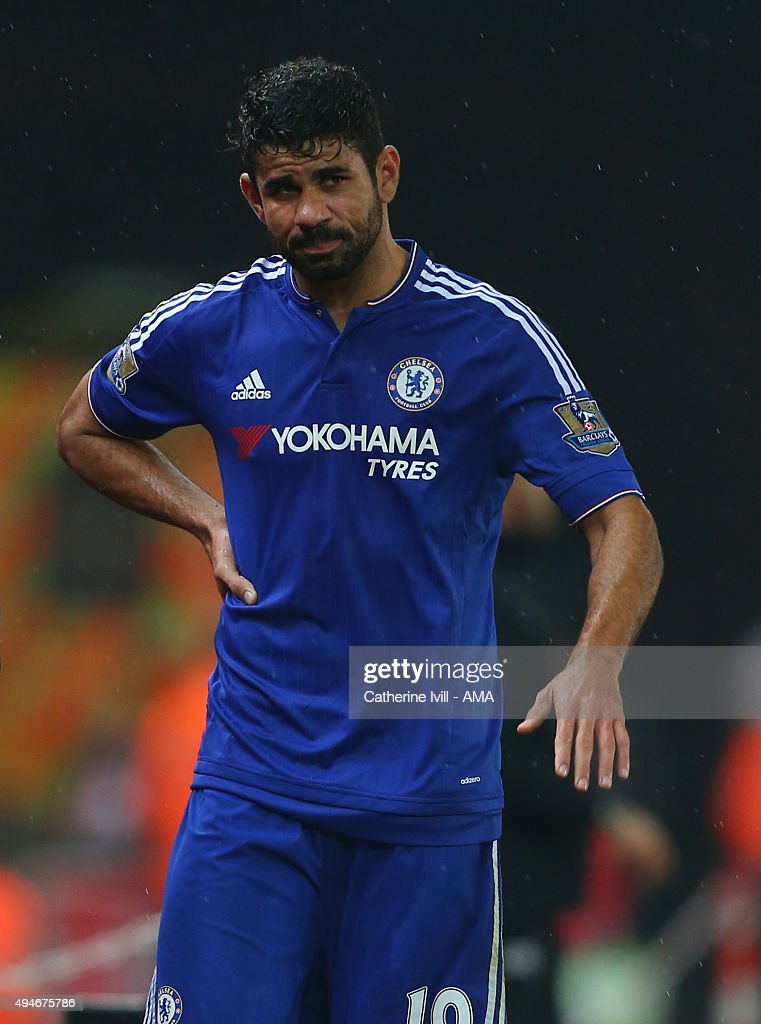 Diego Costa of Chelsea does off injured during the Capital One Cup Fourth Round match between Stoke City and Chelsea at Britannia Stadium on October 27, 2015 in Stoke on Trent, England.