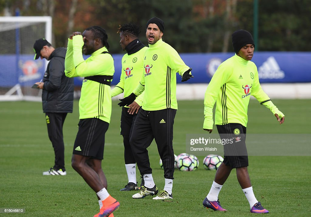 Diego Costa of Chelsea during a training session at Chelsea Training Ground on October 21, 2016 in Cobham, England.