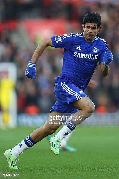 Diego Costa of Chelsea during the Barclays Premier League match between Southampton and Chelsea at St Mary's Stadium on December 28 2014 in...