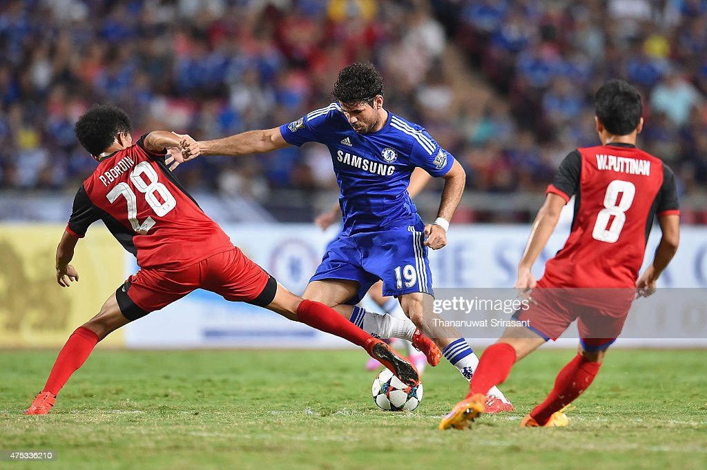 Diego Costa #19 of Chelsea FC competes for the ball during the international friendly match between Thailand All-Stars and Chelsea FC at Rajamangala Stadium on May 30, 2015 in Bangkok, Thailand.