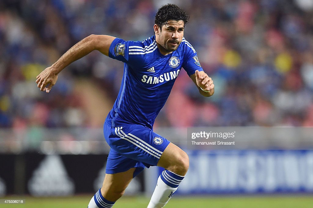 Diego Costa #19 of Chelsea FC runs during the international friendly match between Thailand All-Stars and Chelsea FC at Rajamangala Stadium on May 30, 2015 in Bangkok, Thailand.