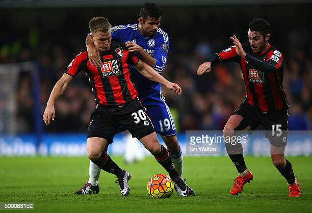 Diego Costa of Chelsea fouls Matt Ritchie of Bournemouth resulting in an yellow card during the Barclays Premier League match between Chelsea and AFC...