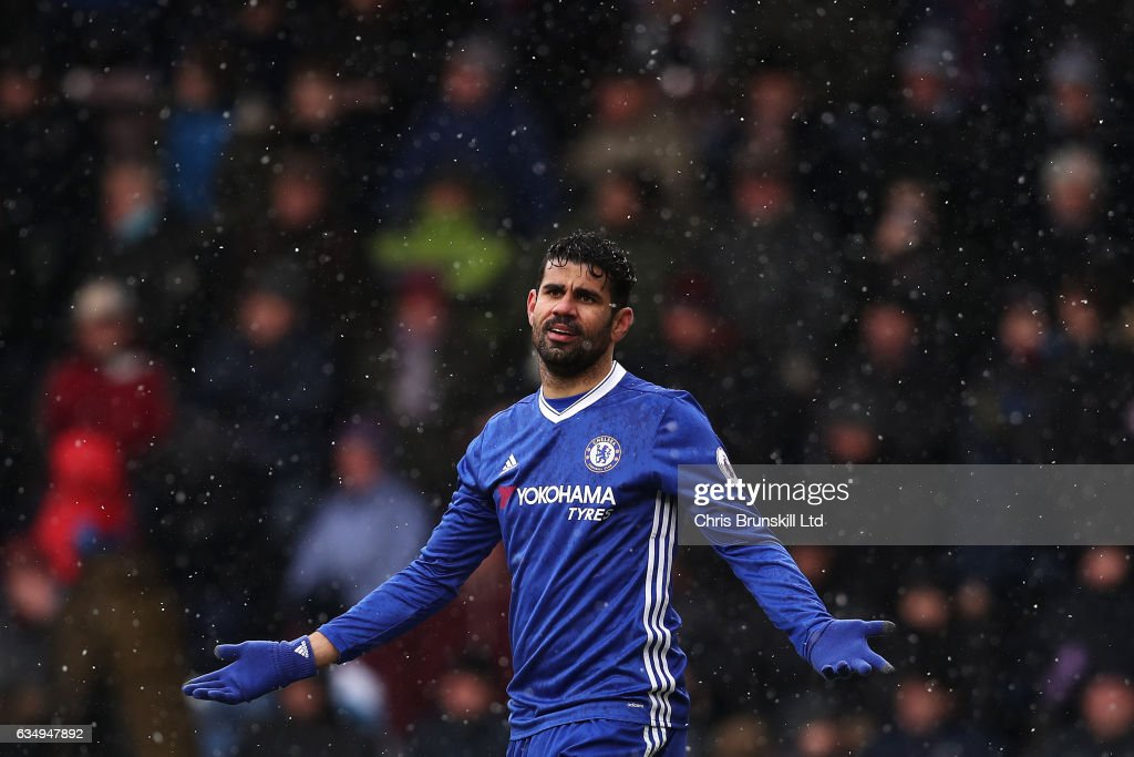 Diego Costa of Chelsea gestures during the Premier League match between Burnley and Chelsea at Turf Moor on February 12, 2017 in Burnley, England.