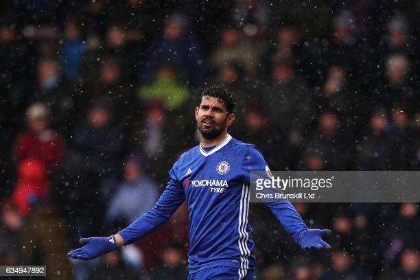Diego Costa of Chelsea gestures during the Premier League match between Burnley and Chelsea at Turf Moor on February 12 2017 in Burnley England