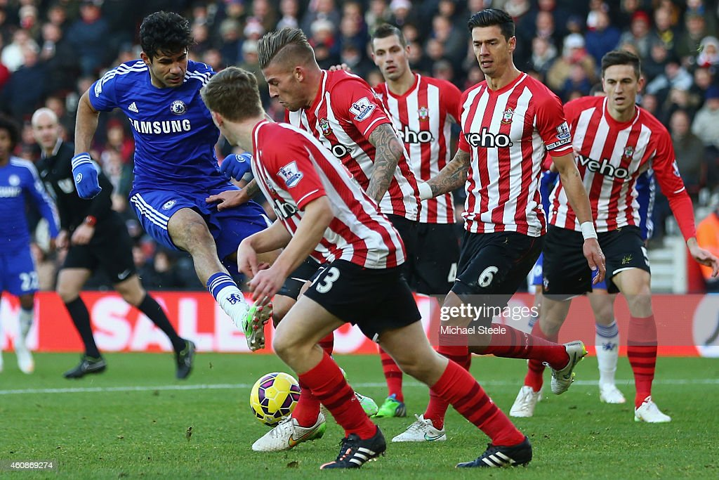 Diego Costa (L) of Chelsea has a shot blocked by Toby Alderweireld of Southampton during the Barclays Premier League match between Southampton and Chelsea at St Mary's Stadium on December 28, 2014 in Southampton, England.