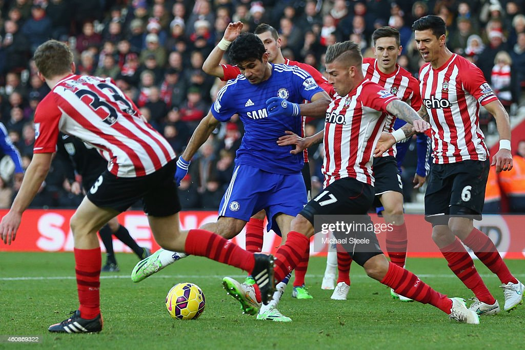 Diego Costa of Chelsea has a shot blocked by Toby Alderweireld of Southampton during the Barclays Premier League match between Southampton and Chelsea at St Mary's Stadium on December 28, 2014 in Southampton, England.