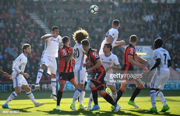 Diego Costa of Chelsea heads the ball during the Premier League match between AFC Bournemouth and Chelsea at Vitality Stadium on April 8 2017 in...
