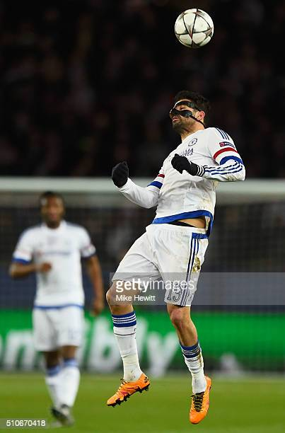 Diego Costa of Chelsea heads the ball during the UEFA Champions League round of 16 first leg match between Paris SaintGermain and Chelsea at Parc des...