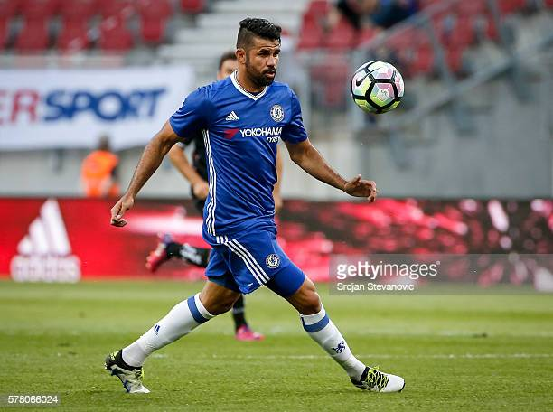 Diego Costa of Chelsea in action during the friendly match between WAC RZ Pellets and Chelsea FC at Worthersee Stadion on July 20 2016 in Velden...