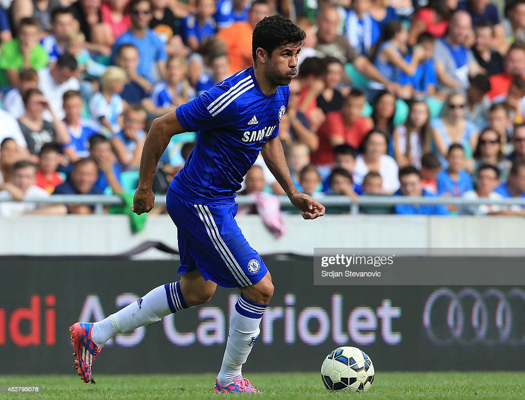 Diego Costa of Chelsea in action during the Pre Season Friendly match between FC Olimpija Ljubljana and Chelsea at Stozice stadium in Ljubljana, Slovenia on Sunday, July 27, 2014.