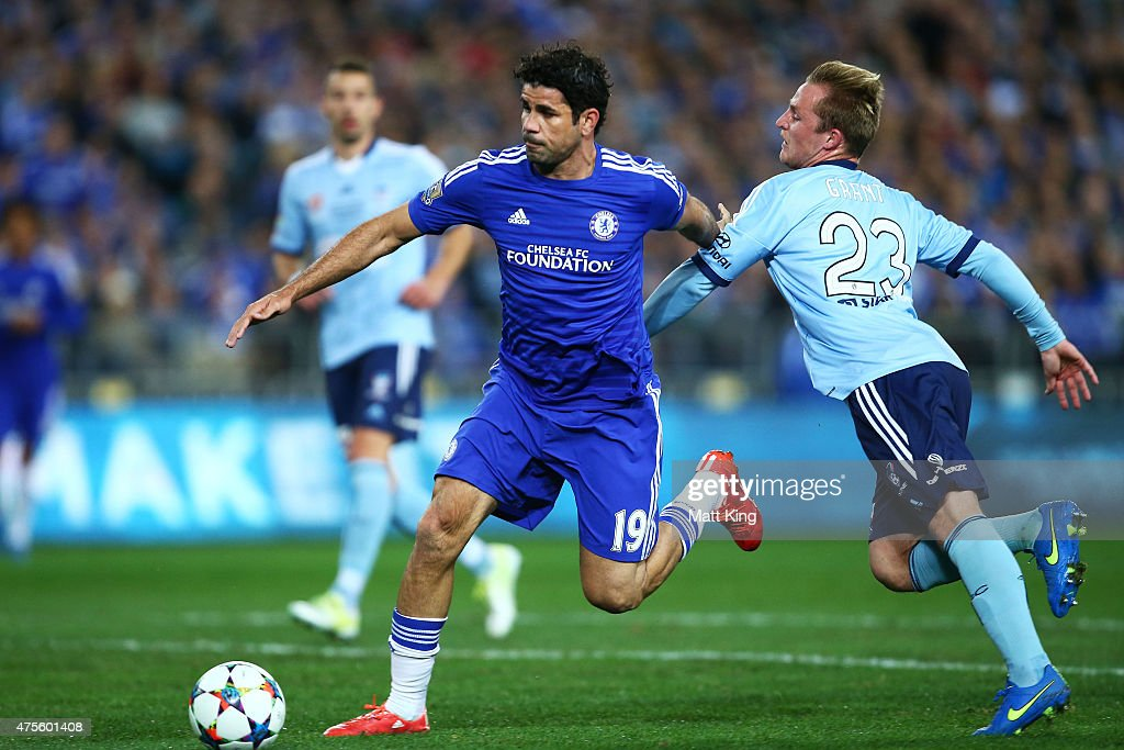 Diego Costa of Chelsea is challenged by Rhyan Grant of Sydney FC during the international friendly match between Sydney FC and Chelsea FC at ANZ Stadium on June 2, 2015 in Sydney, Australia.