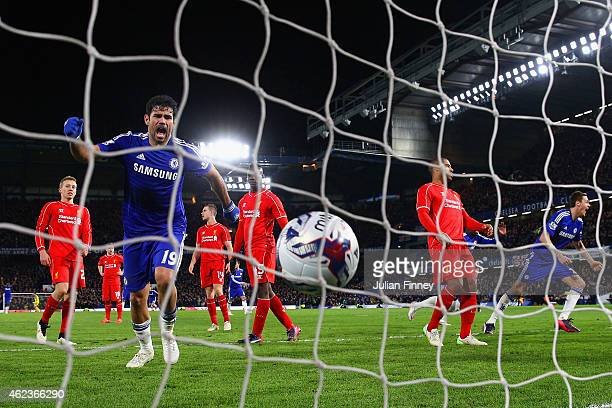 Diego Costa of Chelsea kicks the ball in the back of the net to celebrate after Branislav Ivanovic of Chelsea scored the opening goal during the...