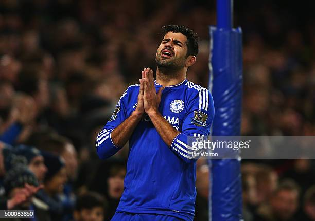 Diego Costa of Chelsea reacts during the Barclays Premier League match between Chelsea and AFC Bournemouth at Stamford Bridge on December 5 2015 in...