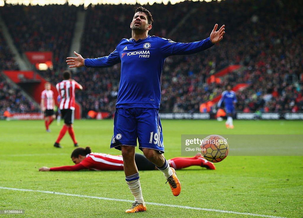Diego Costa of Chelsea reacts during the Barclays Premier League match between Southampton and Chelsea at St Mary's Stadium on February 27, 2016 in Southampton, England.