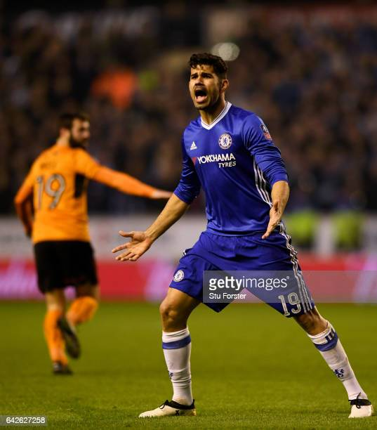 Diego Costa of Chelsea reacts during The Emirates FA Cup Fifth Round match between Wolverhampton Wanderers and Chelsea at Molineux on February 18,...
