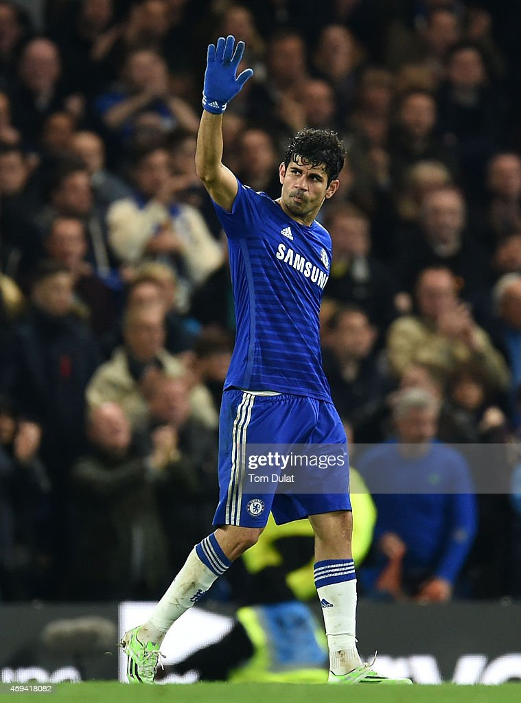 Diego Costa of Chelsea salutes the fans during the Barclays Premier League match between Chelsea and West Bromwich Albion at Stamford Bridge on November 22, 2014 in London, England.