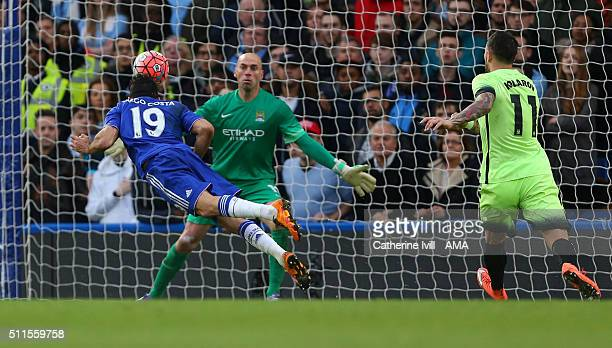 Diego Costa of Chelsea scores a goal to make it 10 during the Emirates FA Cup match between Chelsea and Manchester City at Stamford Bridge on...