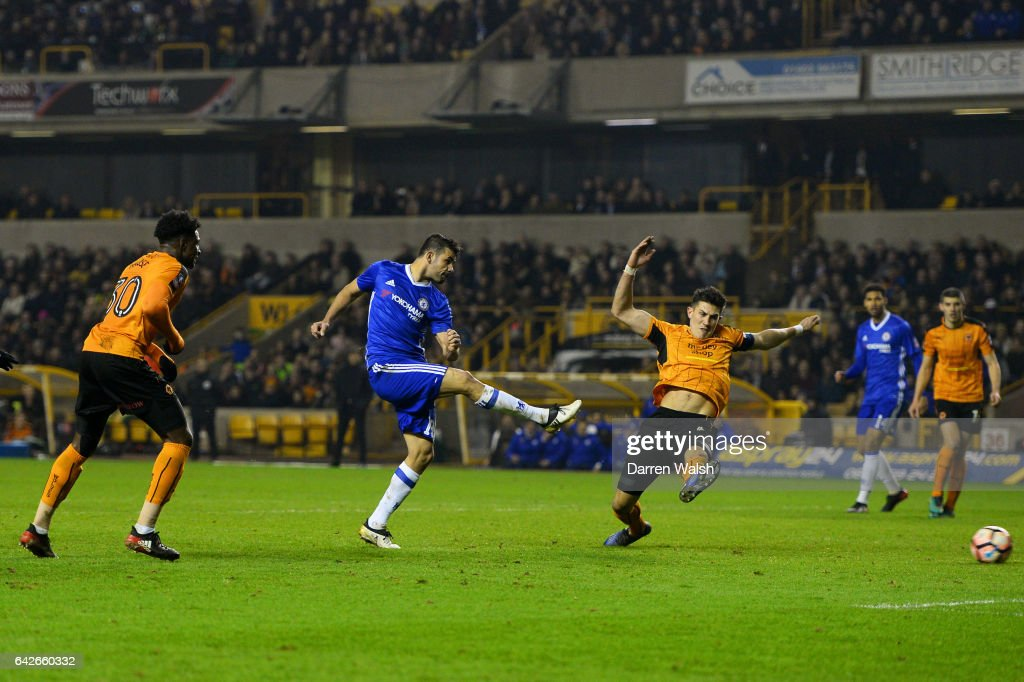 Diego Costa of Chelsea (C) scores his sides second goal during The Emirates FA Cup Fifth Round match between Wolverhampton Wanderers and Chelsea at Molineux on February 18, 2017 in Wolverhampton, England.