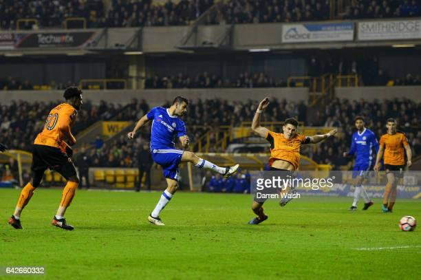 Diego Costa of Chelsea scores his sides second goal during The Emirates FA Cup Fifth Round match between Wolverhampton Wanderers and Chelsea at...