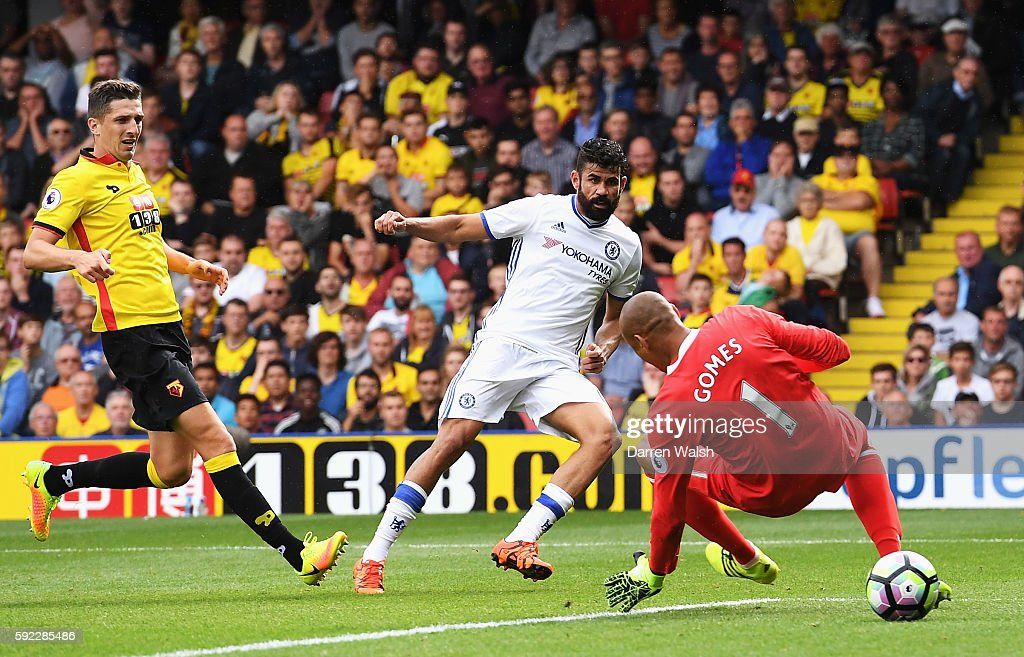 Diego Costa of Chelsea scores his sides second goal during the Premier League match between Watford and Chelsea at Vicarage Road on August 20, 2016 in Watford, England.