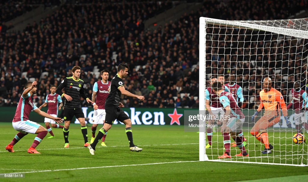 Diego Costa of Chelsea scores his sides second goal during the Premier League match between West Ham United and Chelsea at London Stadium on March 6, 2017 in Stratford, England.