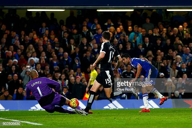 Diego Costa of Chelsea scores his team's second goal during the Barclays Premier League match between Chelsea and Watford at Stamford Bridge on...