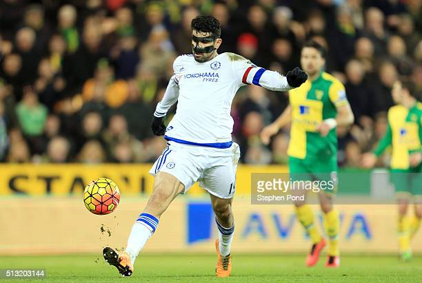 Diego Costa of Chelsea scores his team's second goal during the Barclays Premier League match between Norwich City and Chelsea at Carrow Road on...