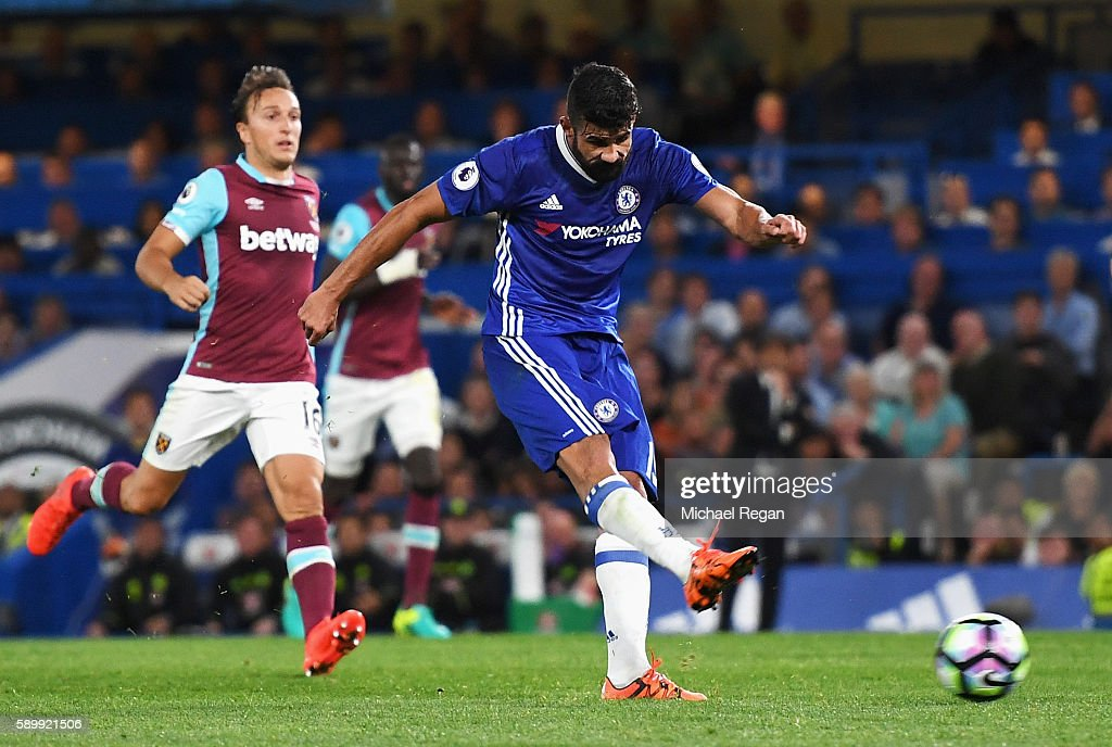 Diego Costa of Chelsea scores his team's second goal during the Premier League match between Chelsea and West Ham United at Stamford Bridge on August 15, 2016 in London, England.