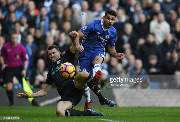 Diego Costa of Chelsea scores the opening goal during the Premier League match between Chelsea and West Bromwich Albion at Stamford Bridge on...