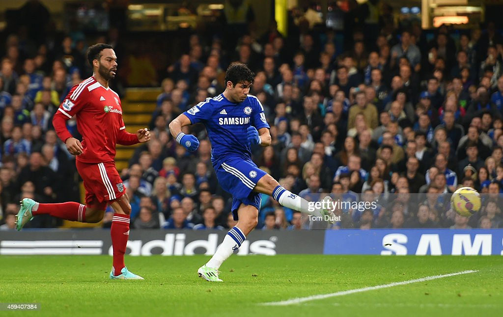 Diego Costa of Chelsea scores the opening goal under pressure from Joleon Lescott of West Brom during the Barclays Premier League match between Chelsea and West Bromwich Albion at Stamford Bridge on November 22, 2014 in London, England.