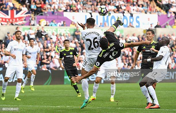 Diego Costa of Chelsea scores their second goal during the Premier League match between Swansea City and Chelsea at Liberty Stadium on September 11...