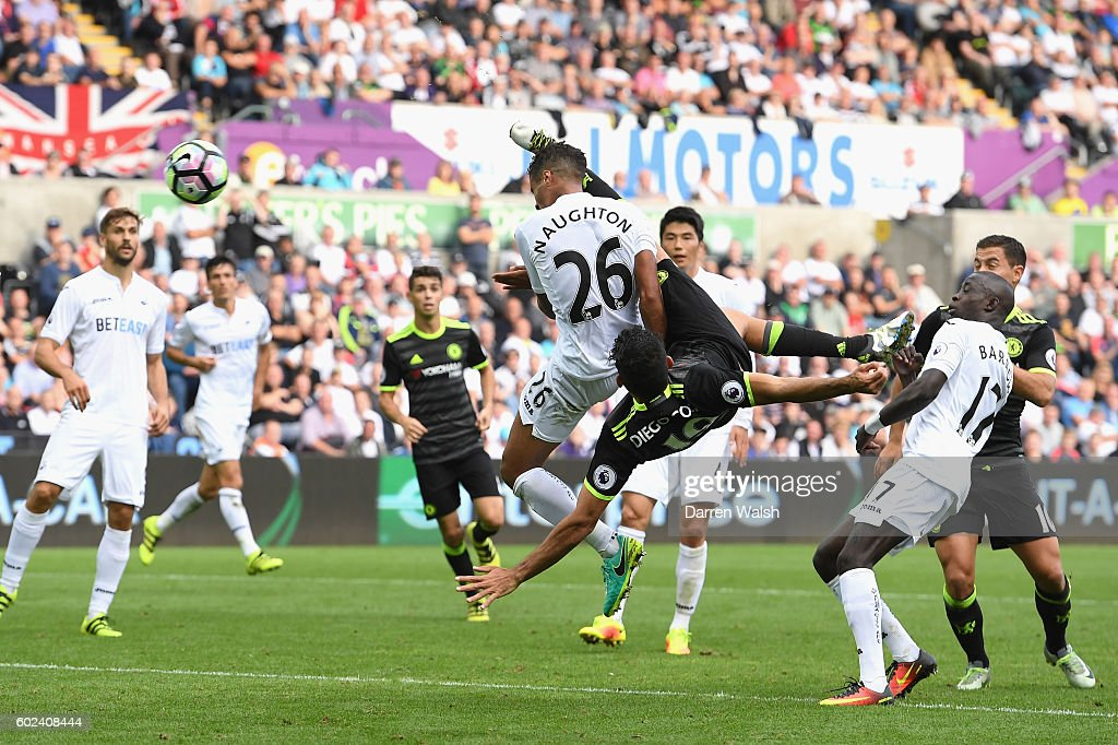 Diego Costa of Chelsea (19) scores their second goal during the Premier League match between Swansea City and Chelsea at Liberty Stadium on September 11, 2016 in Swansea, Wales.