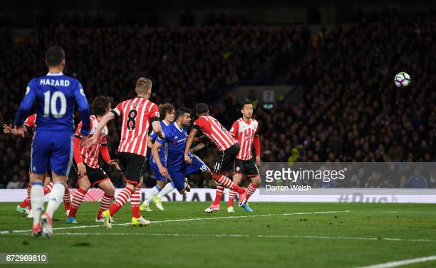 Diego Costa of Chelsea scores their third goal during the Premier League match between Chelsea and Southampton at Stamford Bridge on April 25 2017 in...