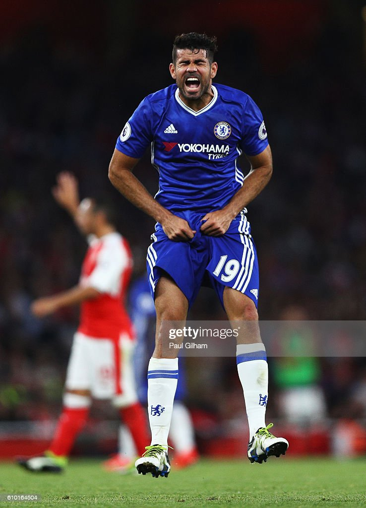 Diego Costa of Chelsea shows his frustration during the Premier League match between Arsenal and Chelsea at the Emirates Stadium on September 24, 2016 in London, England.