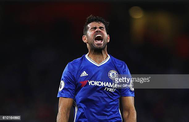 Diego Costa of Chelsea shows his frustration during the Premier League match between Arsenal and Chelsea at the Emirates Stadium on September 24 2016...