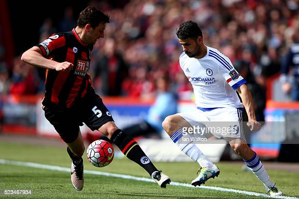 Diego Costa of Chelsea takes the ball past Tommy Elphick of Bournemouth during the Barclays Premier League match between AFC Bournemouth and Chelsea...