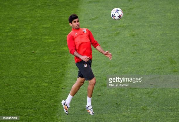 Diego Costa of Club Atletico de Madrid controls the ball during a Club Atletico de Madrid training session ahead of the UEFA Champions League Final...