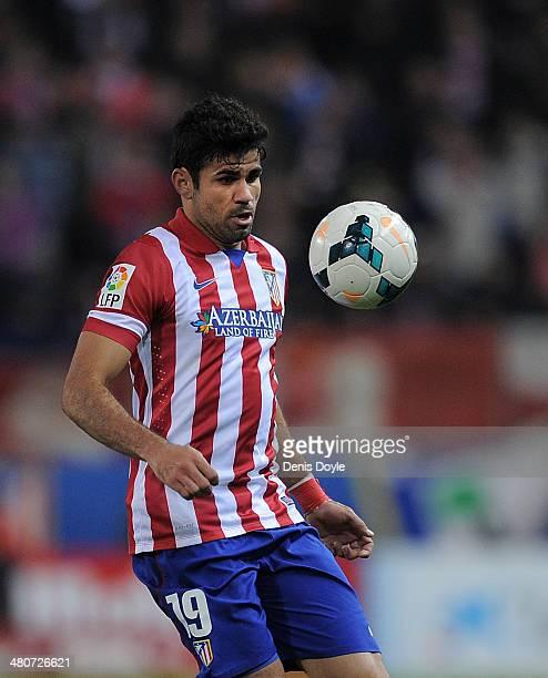 Diego Costa of Club Atletico de Madrid controls the ball during the La Liga match between Club Atletico de Madrid and Granada CF at Vicente Calderon...
