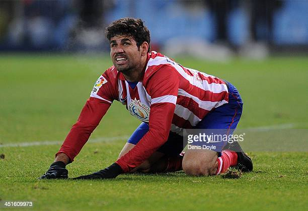 Diego Costa of Club Atletico de Madrid gets up during the La Liga match between Club Atletico de Madrid and Getafe CF at Vicente Calderon Stadium on...