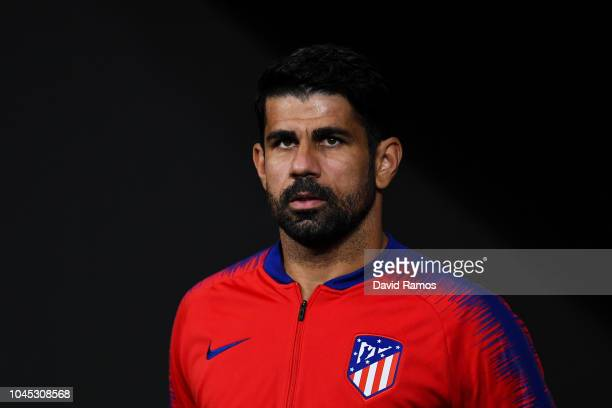 Diego Costa of Club Atletico de Madrid looks on prior to the Group A match of the UEFA Champions League between Club Atletico de Madrid and Club...