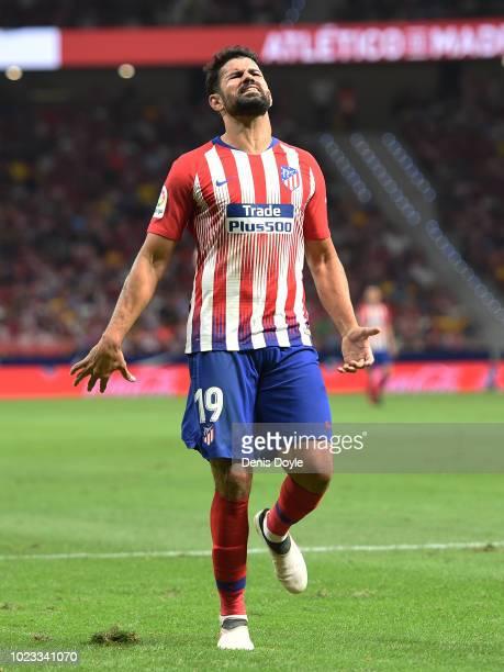 Diego Costa of Club Atletico de Madrid reacts during the La Liga match between Club Atletico de Madrid and Rayo Vallecano de Madrid at Wanda...