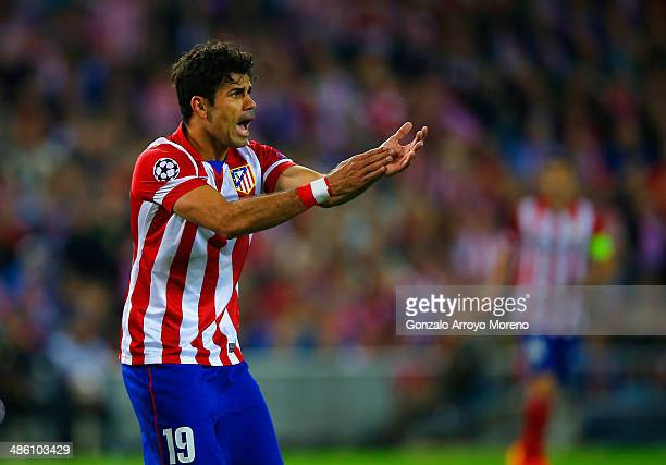 Diego Costa of Club Atletico de Madrid reacts during the UEFA Champions League Semi Final first leg match between Club Atletico de Madrid and Chelsea...