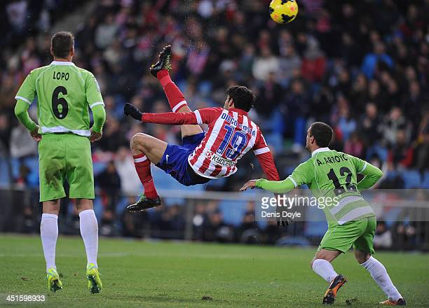 Diego Costa of Club Atletico de Madrid scores his team's 5th goal during the La Liga match between Club Atletico de Madrid and Getafe CF at Vicente...