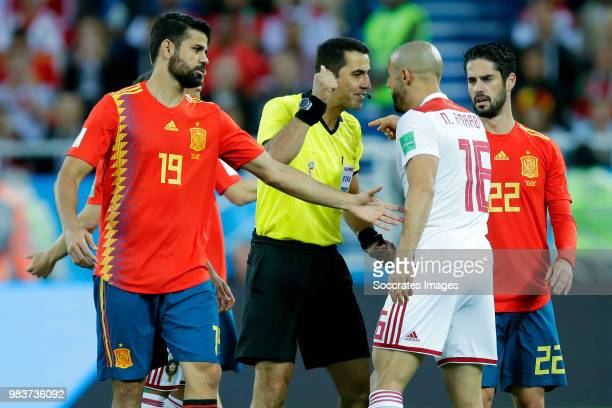 Diego Costa of Spain Amine Harit of Morocco during the World Cup match between Spain v Morocco at the Kaliningrad Stadium on June 25 2018 in...